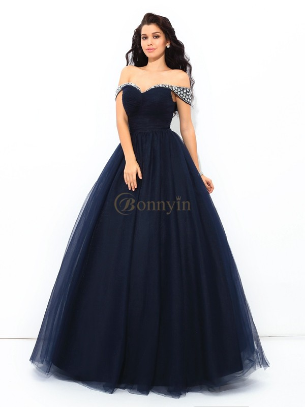 Donkerblauw Netto Off-the-Shoulder Baljurk Hiel-Lengte Quinceanera Jurken