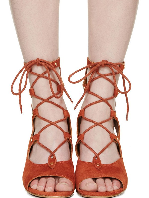 Bonnyin Suede Pierced Wedges Low om Sandals Boots te helpen