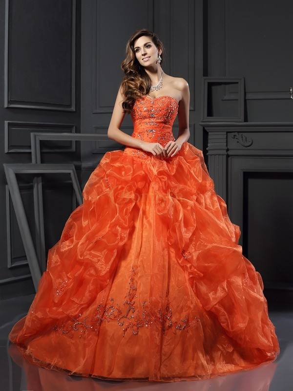 Oranje Organza Hartvormig Decolleté Baljurk Medium Sleep Galajurken