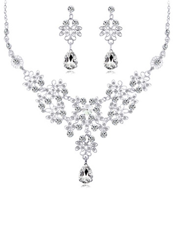 Fancy Alloy Met Crystal Wedding Bridal Sieraden Set