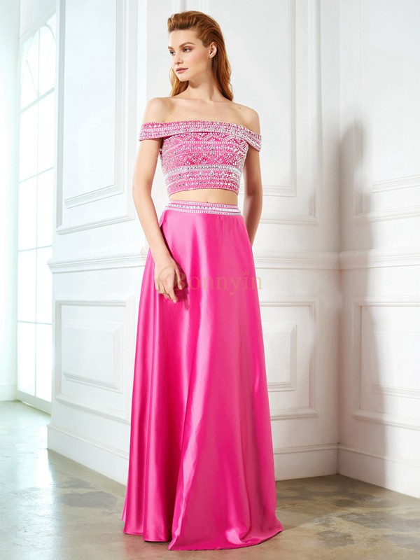 Fuchsia Satijn Off-the-Shoulder A-lijn/Prinses Hiel-Lengte Galajurken